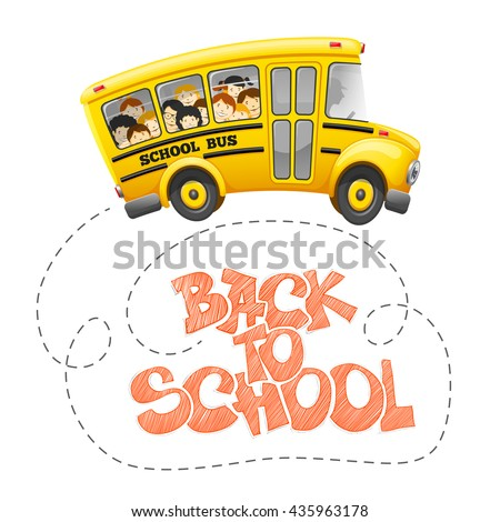 Back to school inscription by chalk and cute cartoon school bus with cheerful pupils. Hand drawn lettering. Back to school concept. Vector illustration.  - stock vector