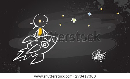 Back to school kid riding a rocket, chalk on blackboard. Sketchy doodle style scribble, vector illustration.   - stock vector