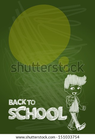 Back to school kid with text and social media speech bubble, transparent illustration. EPS10 vector file includes transparency for easy editing. - stock vector