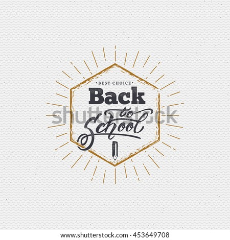 Back to school - labels, stickers, hand lettering, was written with the help of calligraphy skills and collected templates using typographic rules - stock vector