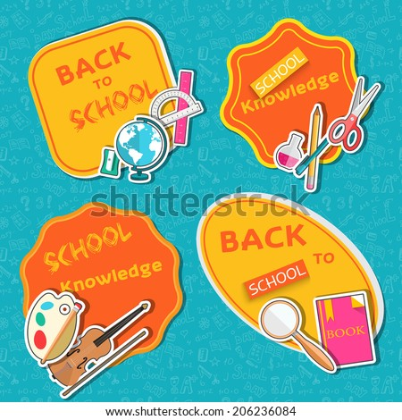 back to school lable of flat icons sticker concept. Vector illustration design - stock vector