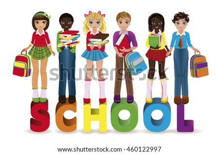 Back to School. Little schoolkids banner, vector illustration