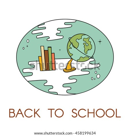 Back to school logo with globe and books. Vector illustration. For logo, web, print. - stock vector