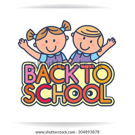 Back to school logo with kids. - stock vector