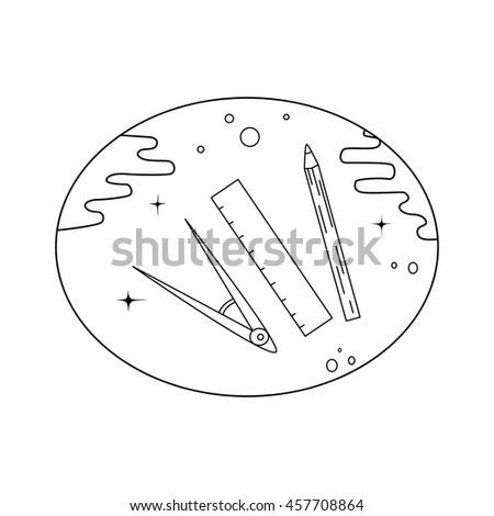 Back to school logo with ruler, pencil, divider. Vector illustration. For logo, web, print. - stock vector