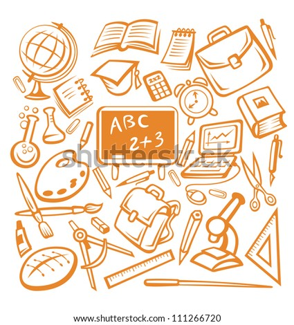 Back to school - many isolated education objects. Jpeg version also available in gallery - stock vector