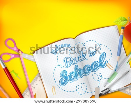 Back to School marketing background for greeting card, ad, promotion, poster, flier, blog, article, social media, marketing. EPS 10 vector file - stock vector