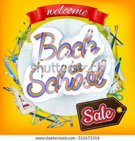 Back to School marketing background. For greeting card, ad, promotion, poster, flier, blog, article, social media. EPS 10 vector file included - stock vector