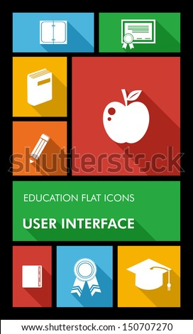Back to school mobile applications graphic user interface flat icons set education concept. Vector layered for easy editing. - stock vector
