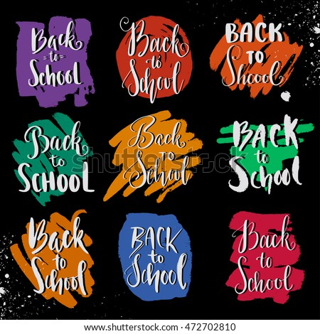 Attractive Back To School Modern Calligraphy Phrase. Sayings For Banner, Sticker,  Label. Hand