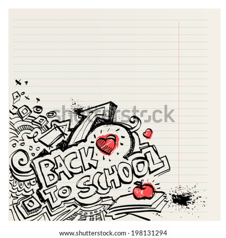 Back to school naive primitive doodles hand drawn with pen and ink on notebook page, children´s style, editable vector - stock vector