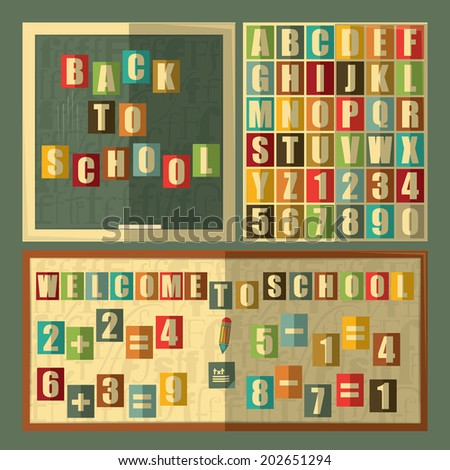 Back to school on blackboard, alphabet, numbers. Retro style. vector illustration.