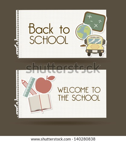 back to school over brown background vector illustration