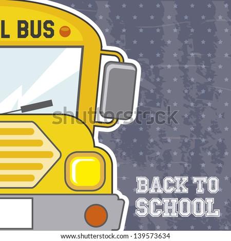 back to school over grunge background vector illustration - stock vector