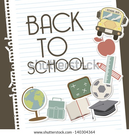 back to school over leaves notebook background vector illustration - stock vector