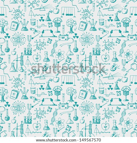 Back to school pen sketch seamless background. Physics and chemistry. Can be used for wallpaper, pattern fills, textile, web page background, surface textures. Vector illustration.  - stock vector