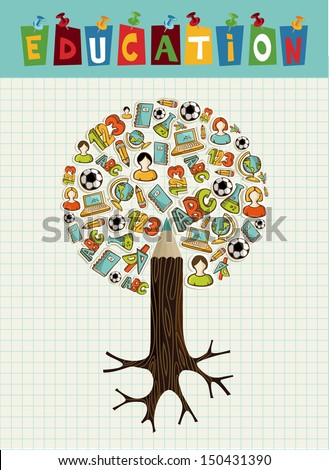 Back to school pencil tree global education icons grid sheet background. Vector layered for easy personalization.