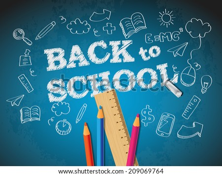 Back to school poster with doodles and pencils - stock vector