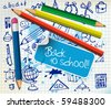 Back to school poster with paper and color pencils - stock vector