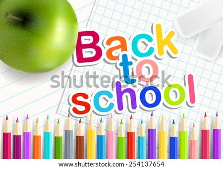 Back  to school. Rainbow  pencils, eraser and green apple on a sheet of exercise books. Vector educational concept.  - stock vector