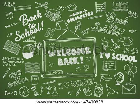 Back to School - Retro Handwriting Elements Creation Kit - stock vector