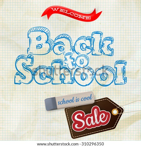 Back to school Sale Label card. EPS 10 vector file included - stock vector