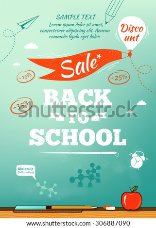 Back to school sale poster. Vector illustration - stock vector