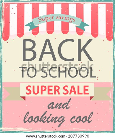 Back to school sale vintage poster, vector illustration. - stock vector