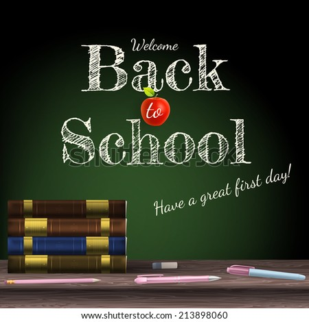 Back to school, school books with apple on desk. EPS 10 vector file included - stock vector
