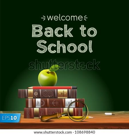 Back to school, school books with apple on desk, vector Eps10 illustration - stock vector