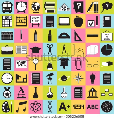 Back to school. School icons, buttons set. Vector illustration. Big set. - stock vector