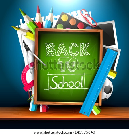 Back to school - school supplies and chalkboard on the shelf - creative vector background - stock vector