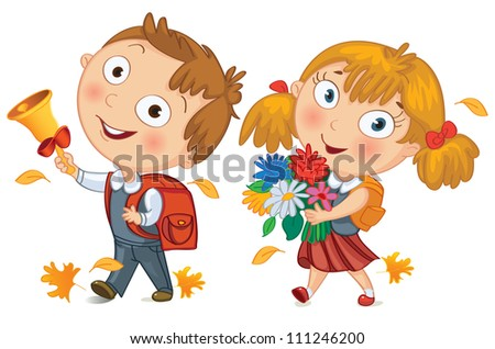 Back to school. Schoolboy and schoolgirl go to school. Little girl holding a bouquet of flowers. Young boy ringing the school bell. Vector illustration - stock vector