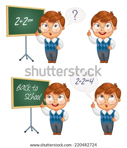Back to school. Schoolboy writing on the chalkboard. Boy solves equations on blackboard. Funny cartoon character. Vector illustration. Isolated on white background. Set - stock vector