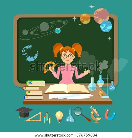 Back to school schoolgirl in a school board astronomy physics chemistry mathematics biology vector illustration - stock vector