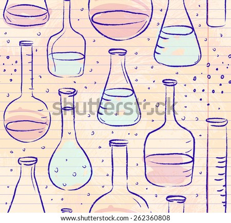 Back to School: science lab objects doodle vintage style sketches seamless pattern, vector illustration.  - stock vector