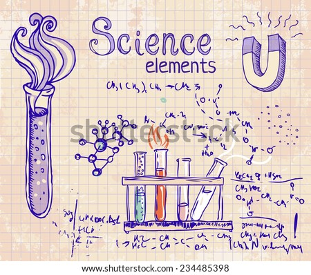 Back to School: science lab objects doodle vintage style sketches set, vector illustration.  - stock vector
