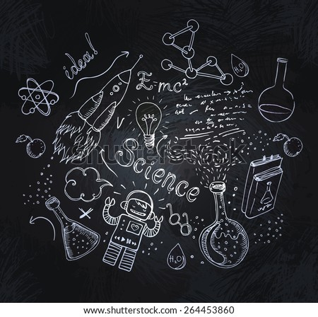 Back to School: science lab objects doodle vintage style sketchy frame, vector illustration over a blackboard  - stock vector