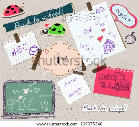 Back to school scrapbooking poster 2. Vector illustration EPS10 - stock vector