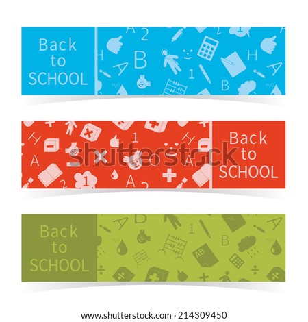 Back to school seamless banners set, vector illustration - stock vector
