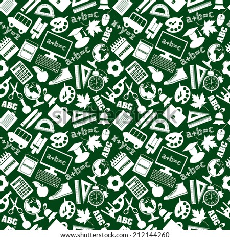 Back to school seamless pattern - stock vector