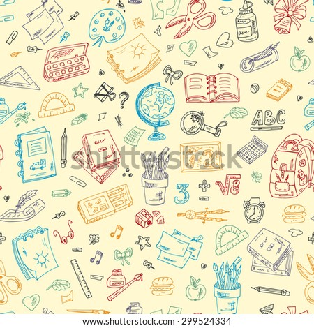 Back to school. Seamless pattern of Colorful school supplies. Hand Drawn Doodles illustration