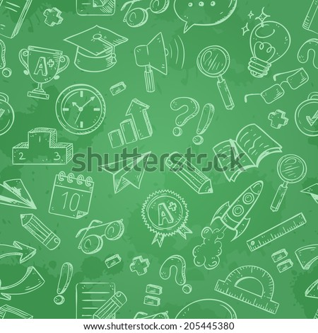 Back to school seamless pattern on a blackboard background with dry chalk traces - stock vector