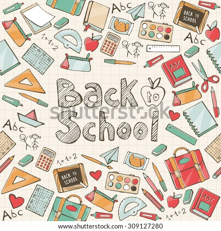 Back to school seamless pattern with school supplies and hand written text