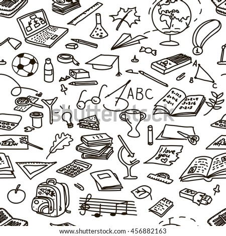 back to school, set, hand drawn, sketch, doodle, vector, seamless pattern
