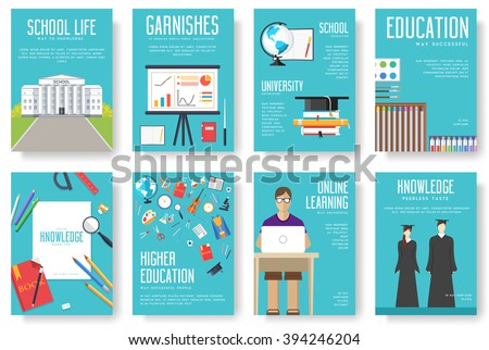 Back to school set of cards illustrations concept. Education school icons. Education school posters. Education school banners. Education school flyer. Flat education school brochure with typography. - stock vector