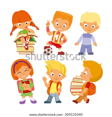 Back to school.Set of cute cartoon pupils in various actions at school. Girl reading,boy playing soccer,children with books.Vector children icon set isolated on white background - stock vector