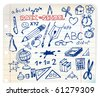 Back to school - set of school doodle illustrations - stock