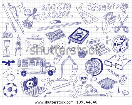 Back to school - set of school doodle illustrations - stock vector