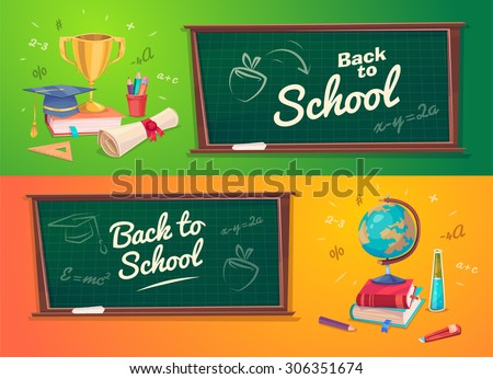 Back to school. Set of school supplies  globus , diplom and cup. Vector illustration.